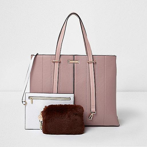 Pink long handle fur pouchette tote bag