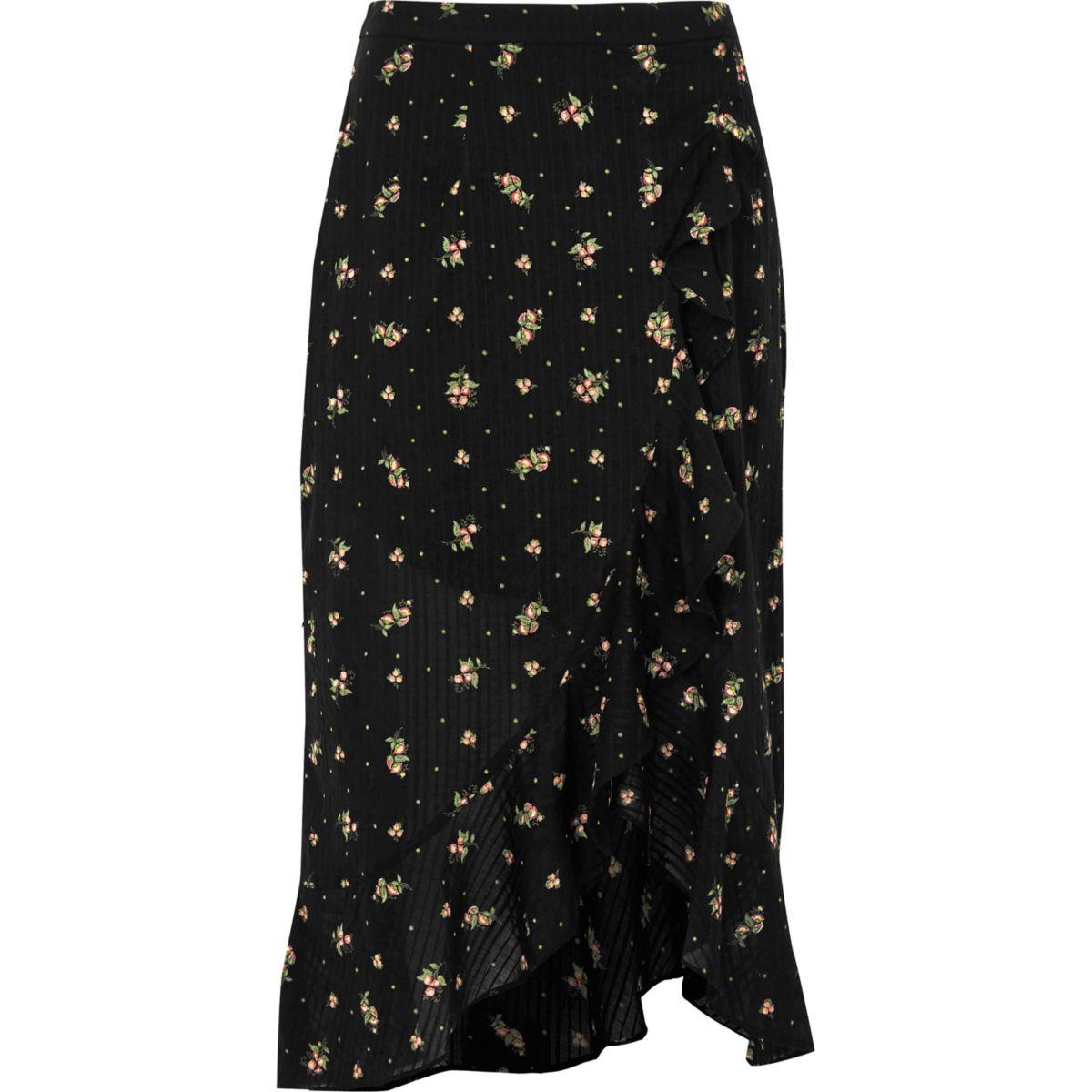 Jupe longue portefeuille à fleurs noire avec ourlet à volant