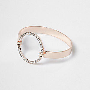 Rose gold tone pave circle cuff bracelet