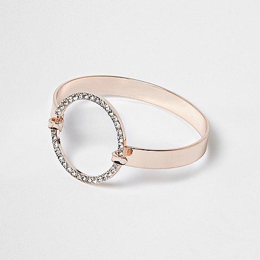 Rose gold tone pave circle cuff bracelet