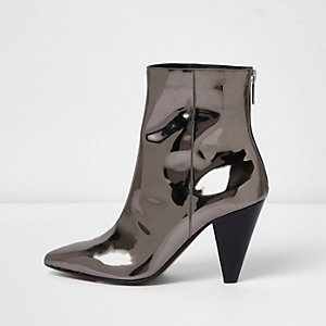 Silver patent cone heel boots