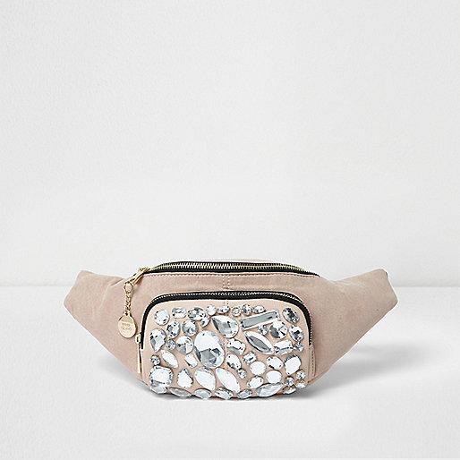 Beige jewel embellished bumbag