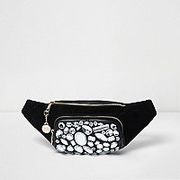 Black jewel embellished bumbag