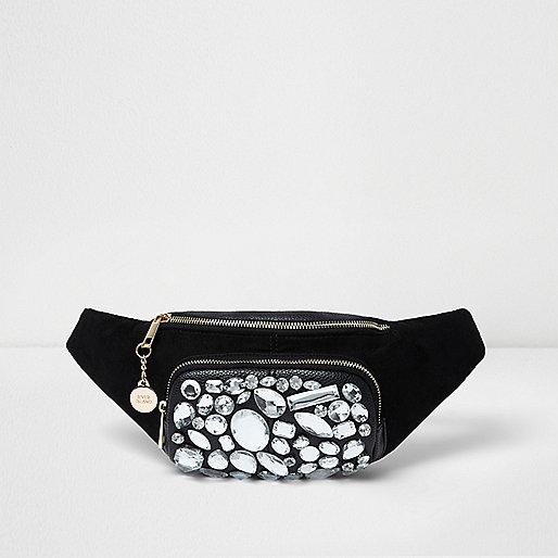 Black jewel embellished bumbag