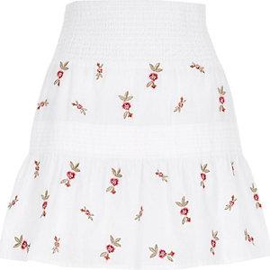 White shirred waist embroidered mini skirt