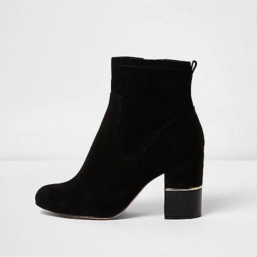 Black block heel gold trim ankle boots