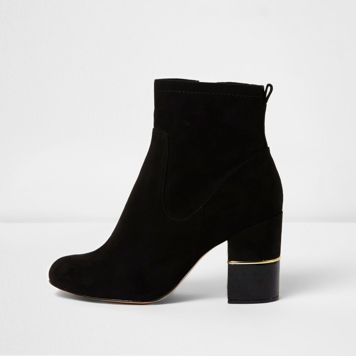 Black block heel gold trim ankle boots - Shoes & Boots - Sale - women