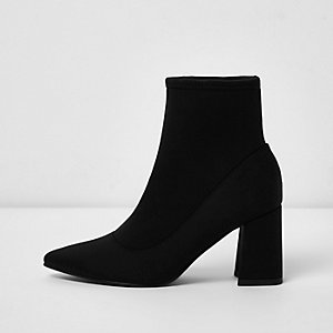 Black scuba pointed sock heels