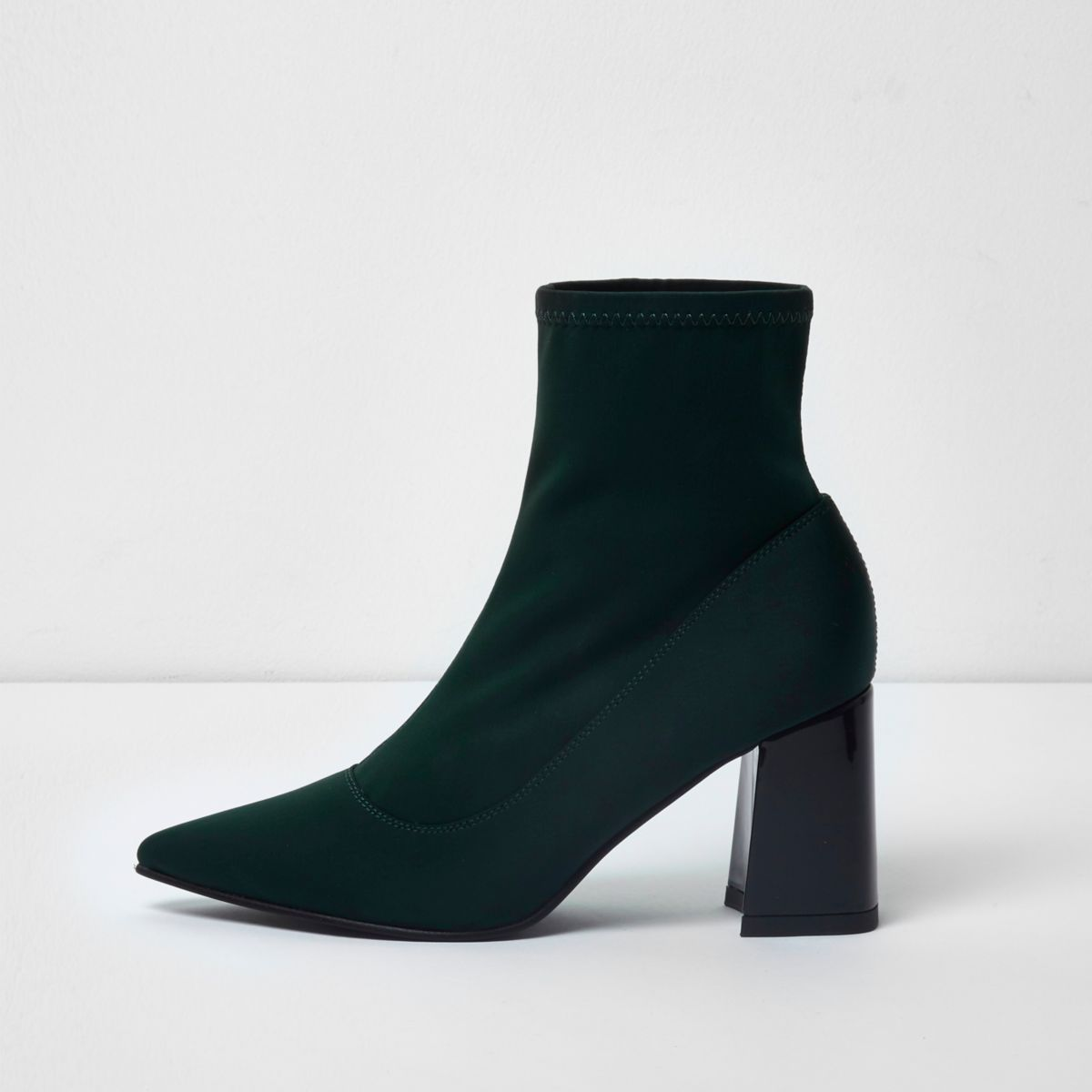 Green scuba pointed sock boots