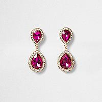 Boucles d'oreilles dorées avec pendants goutte d'eau roses