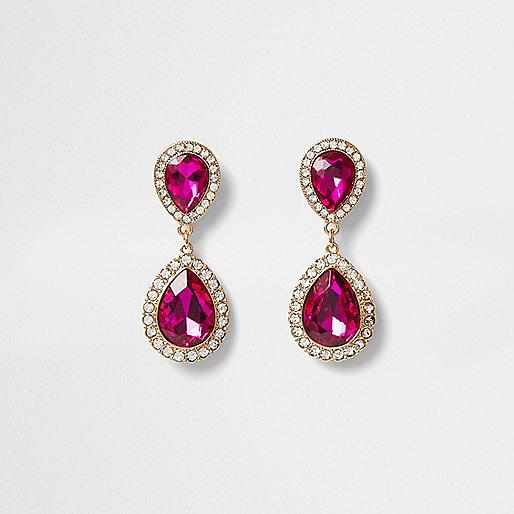Gold tone teardrop pink drop earrings