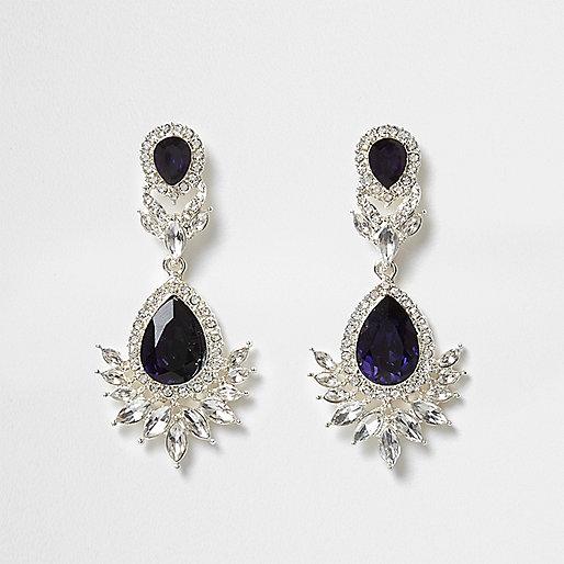 Silver tone blue gem drop earrings