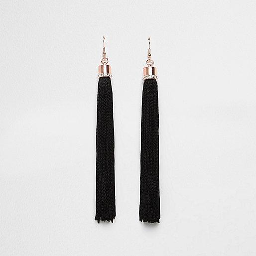 Black tassel dangle earrings