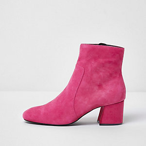 Pink block heel suede ankle boots