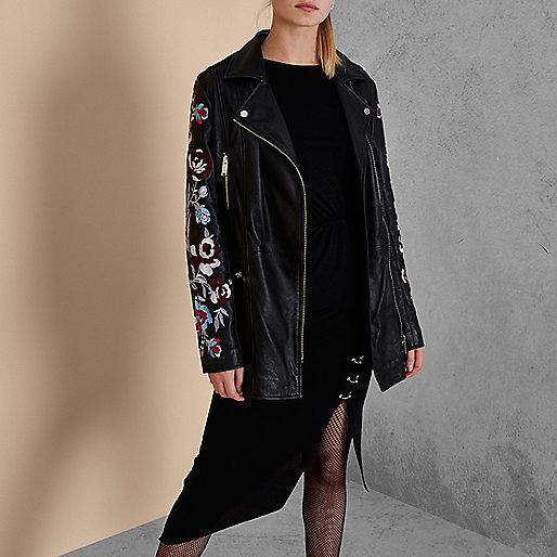 Black RI Studio embroidered leather jacket