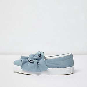 Light blue ruffle slip on plimsolls