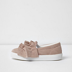 Light pink suede ruffle slip on plimsolls