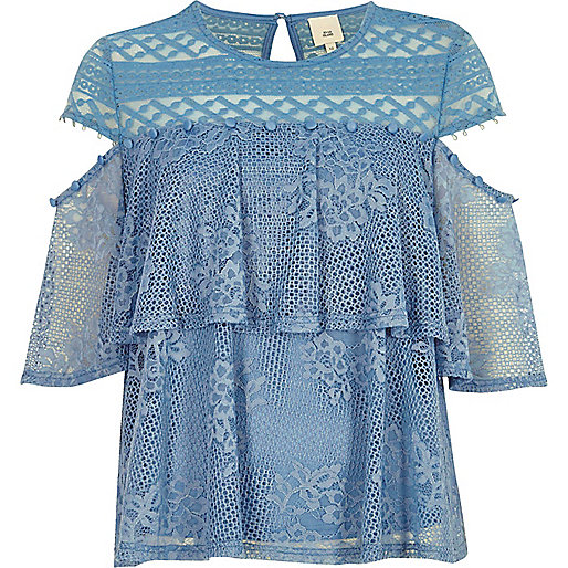 Blue lace frill button detail top