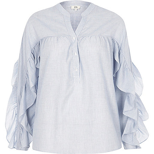 Blue stripe frill sleeve shirt
