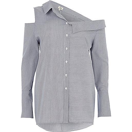 Blue stripe deconstructured shirt