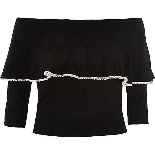 Black faux pearl trim frill bardot top