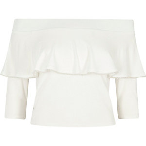 Cream faux pearl trim frill bardot crop top