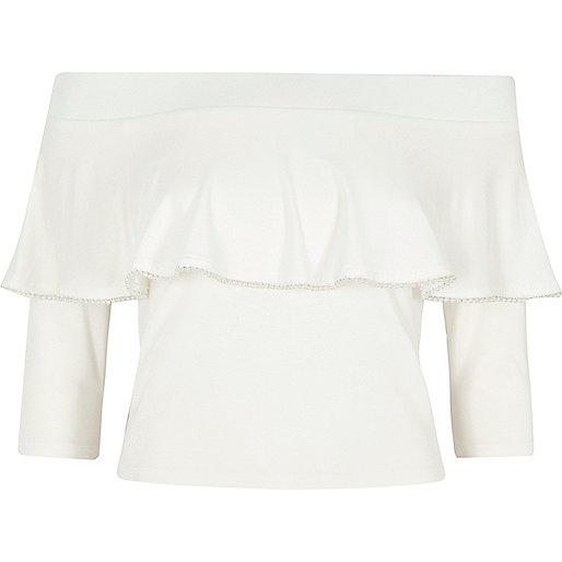 Cream faux pearl trim frill bardot top