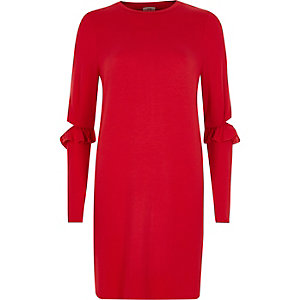 Red frill deconstructed sleeve longline top