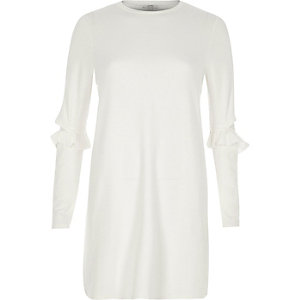 White frill deconstructed sleeve longline top