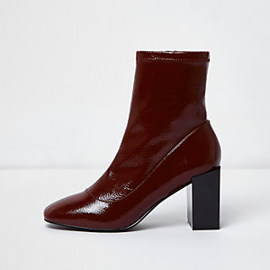 Dark red patent square block heel sock boots