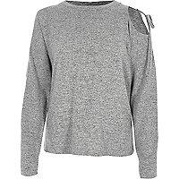 Marl grey one shoulder long sleeve sweater