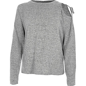 Marl grey one shoulder long sleeve jumper
