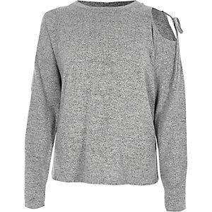 Marl grey one shoulder long sleeve jumper