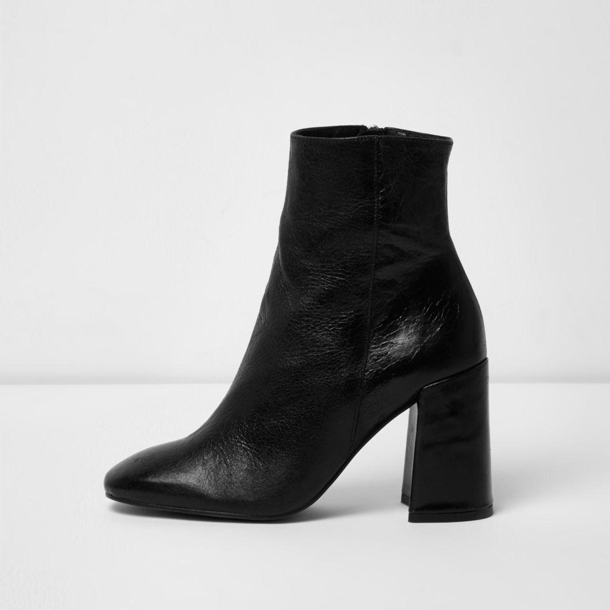 Black leather block heel boots