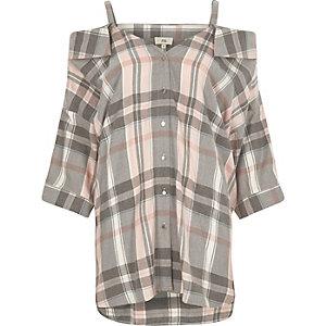 Pink kariertes Hemd mit Schulterausschnitten
