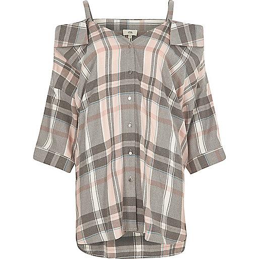 Pink check cold shoulder shirt