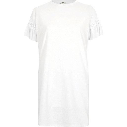 White mesh frill sleeve oversized T-shirt