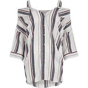 White stripe cold shoulder top