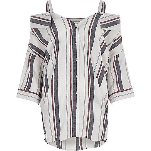 White stripe cold shoulder top