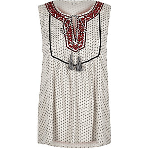 Cream print embroidered sleeveless top