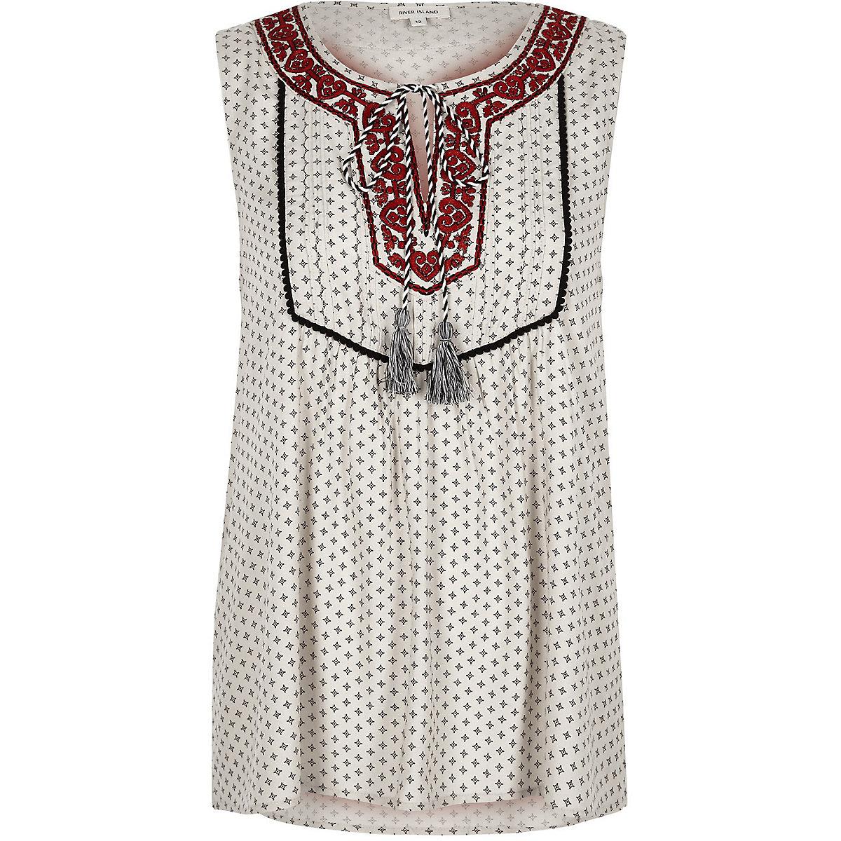 Cream print embroidered sleeveless top