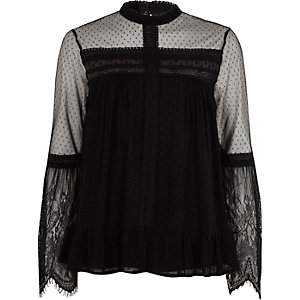 Black dobby mesh lace trim high neck top