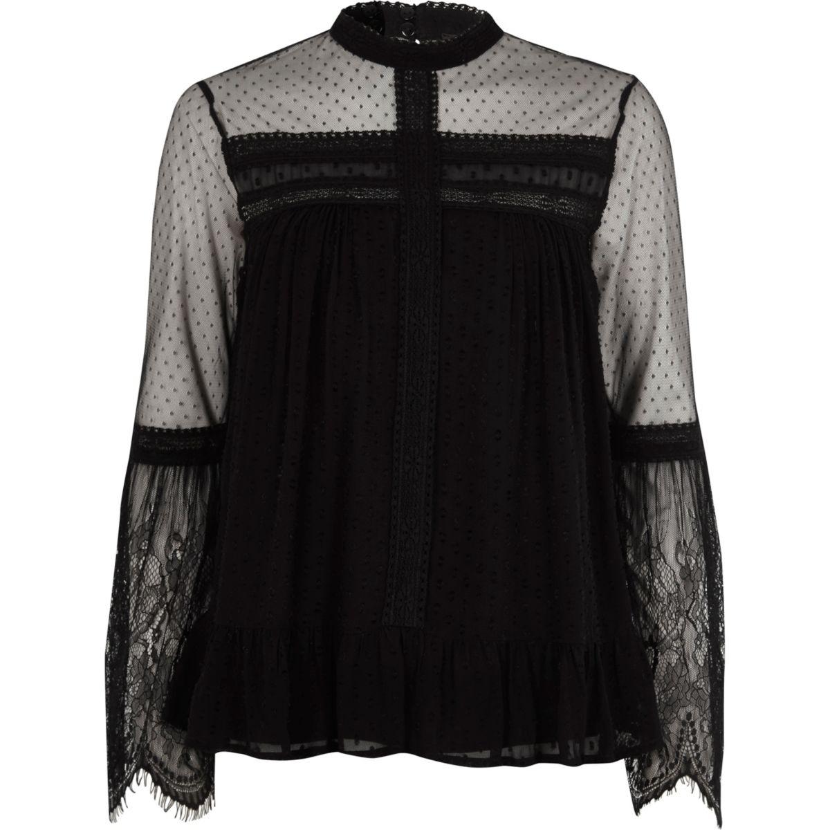 Black dobby mesh lace trim high neck top