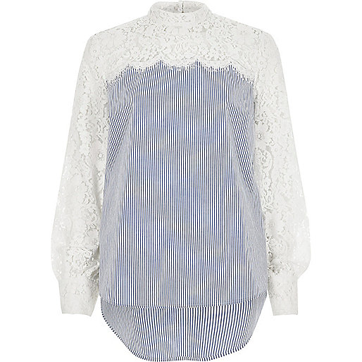 Blue stripe lace sleeve high neck top