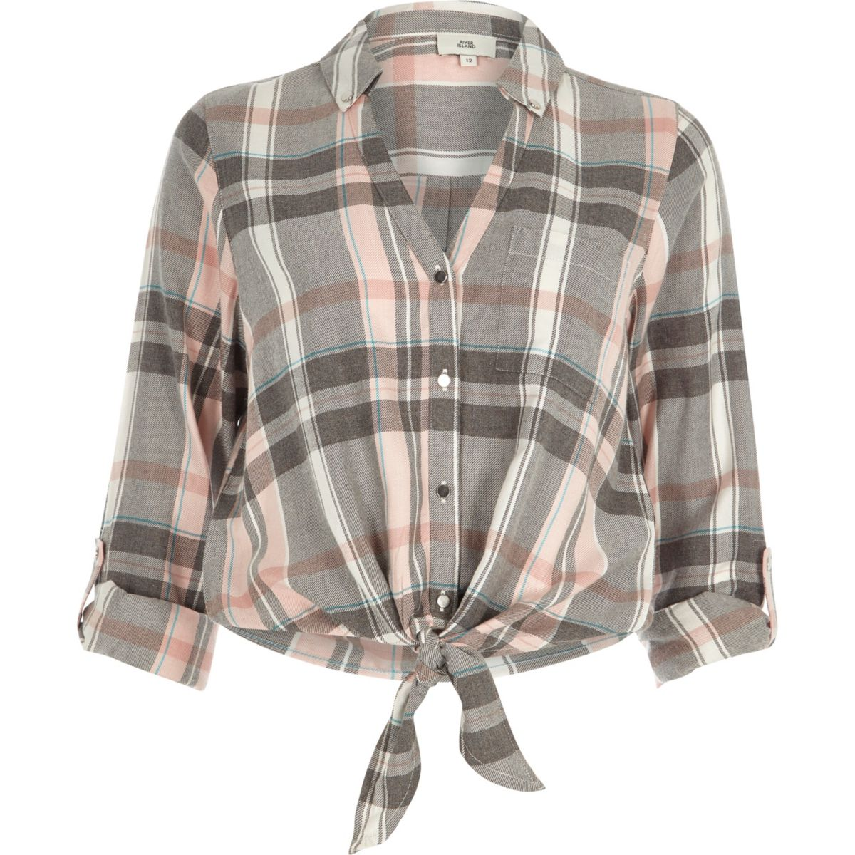 Pink check tie knot front shirt