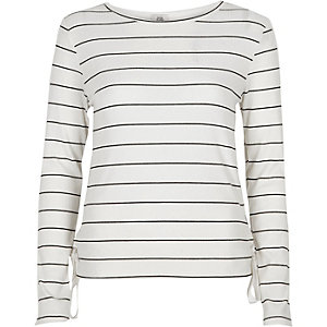 White stripe print eyelet long sleeve top