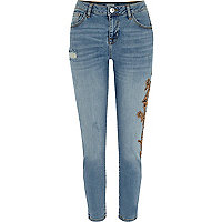 Blue bead embellished Alannah skinny jeans