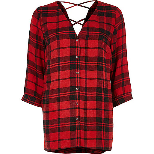 Red check cross back shirt