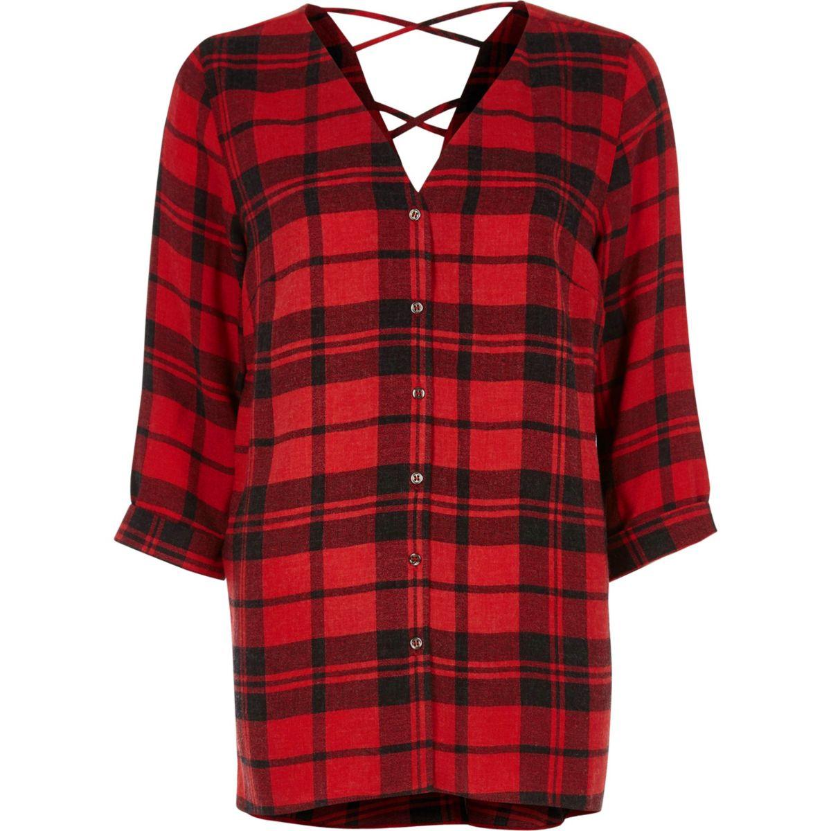 Red check cross back shirt