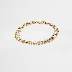 Bracelet doré à maillons incrustés de strass